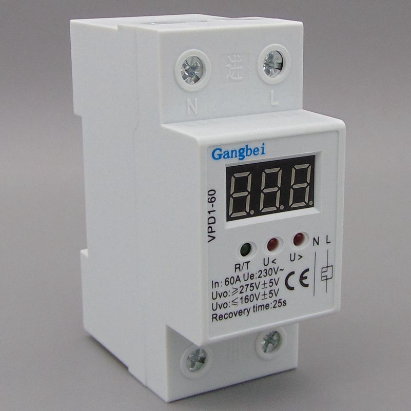 2P 60A 220V automatic reconnect over voltage and under voltage protection protective device relay with Voltmeter voltage monitor