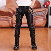 Boys Pants 2019 Spring New Boy Fashion Faux Leather Pants Casual Elastic Waist Solid Motor & Biker Leather Pencil Pants