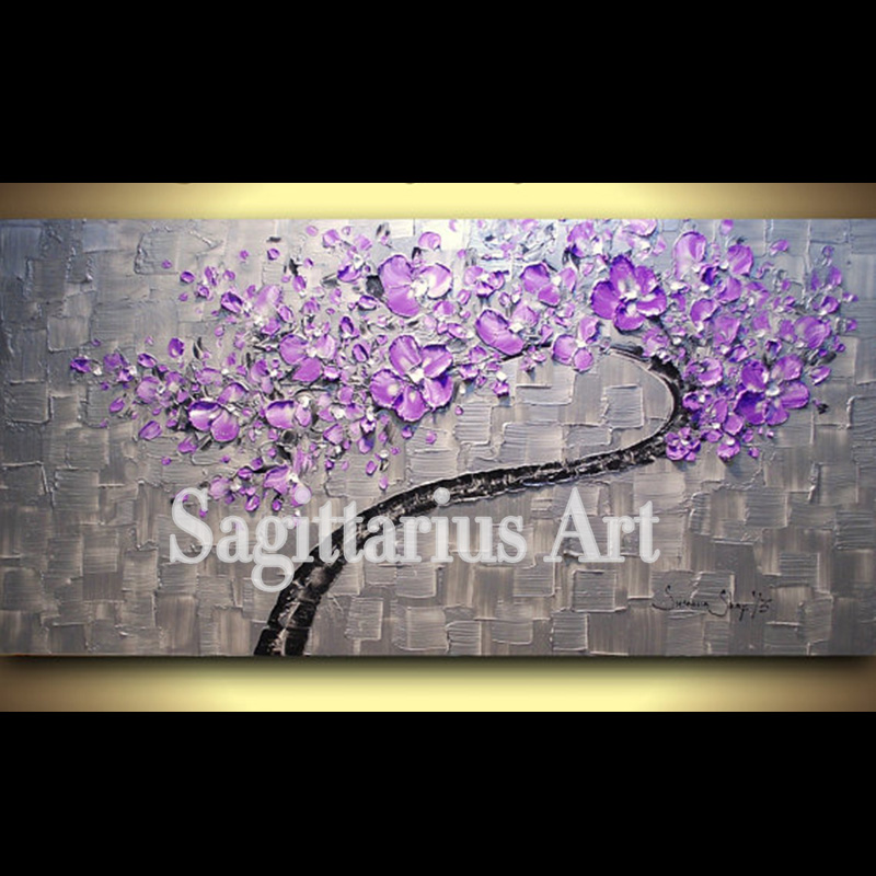 3 Piece Purple Cherry Blossom Muti Panel Abstract Modern: Hand Painted Wall Art ABSTRACT Purple Cherry Blossom Wall