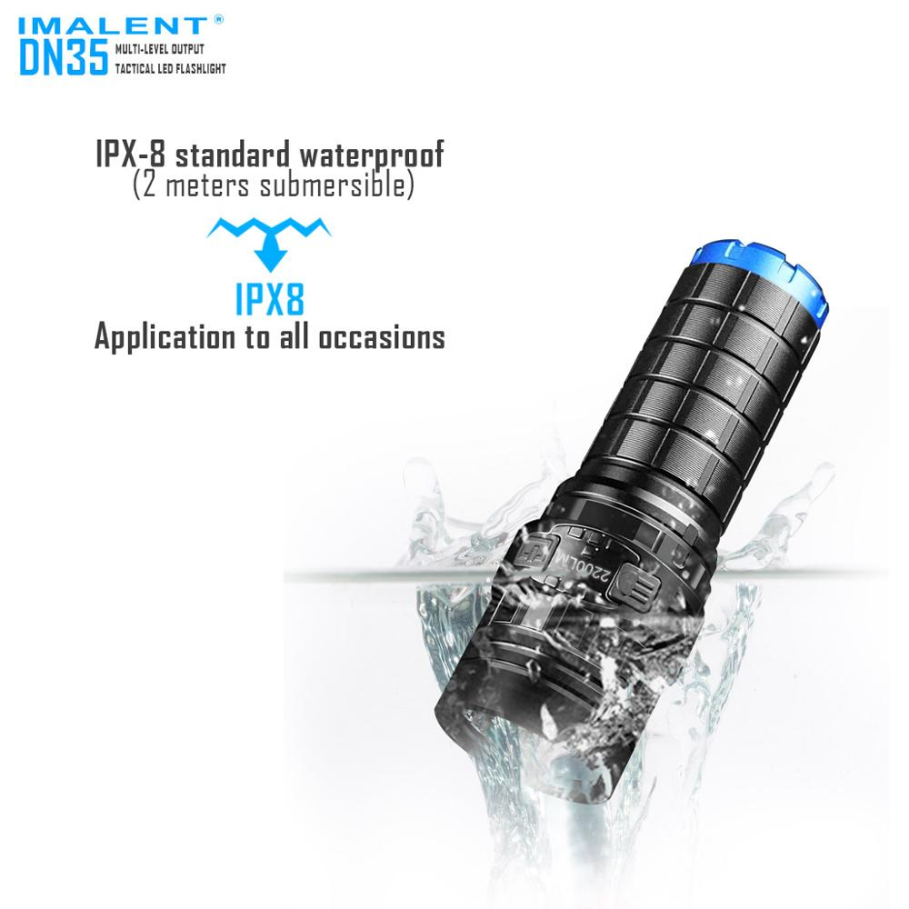 IMALENT DN35 USB Rechargeable Flashlight CREE XHP35 2200 Lumens LED Flashlight Waterproof flashlight IPX-8 by 26650 Battery ipx 8 waterproof tactical torch imalent dn35 usb rechargeable cree xhp70 2200 lumens led flashlight self defense 26650 battery
