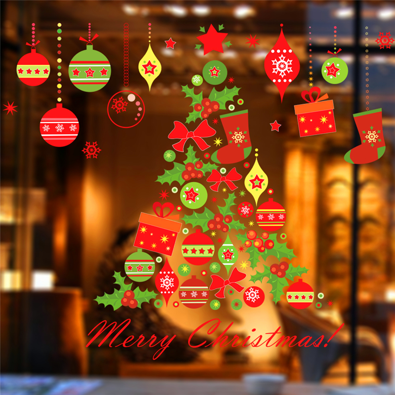 Merry Christmas Tree Bells Wall Stickers Home Decor Stue Store Window - Indretning af hjemmet - Foto 2