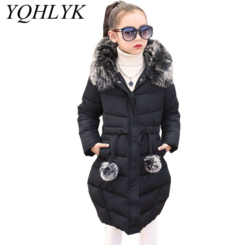 New Fashion Winter Cotton Girls Coat 2018 Korean Children Zipper Hooded Thick Warm Jacket Sweet Casual Kids Clothes 5-13Y W99 new winter girls boys hooded cotton jacket kids thick warm coat rex rabbit hair super large raccoon fur collar jacket 17n1120