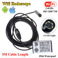Free shipping!WIFI ios and Android Endoscope Borescope HD 720P Inspection 5M Snake Camera 9MM