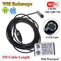 Frete grátis! WIFI ios e Android Endoscópio Endoscópio HD 720 P Cobra Câmera de Inspeção 5 M 9 MM