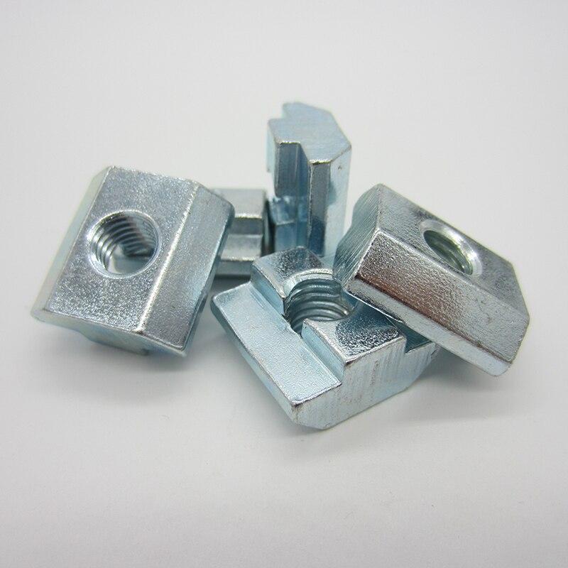 100 stücke M3 M4 M5 M6 M8 M10 T Block Platz muttern T-Track Schiebe Hammer Mutter für Verschluss aluminium Profil 2020 3030 4040 4545
