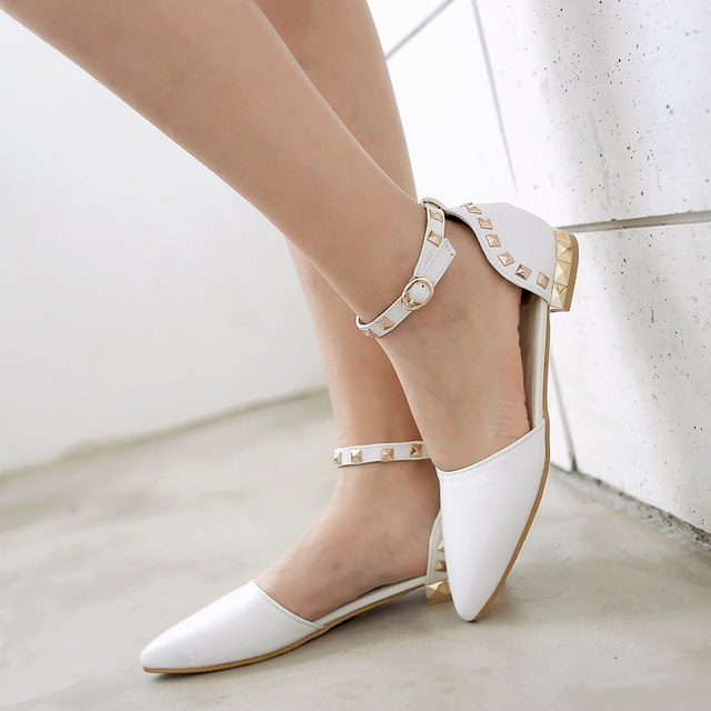 Fashion New Women Ankle Strap Flats Pointed Toe Sweet Shoes Dress Shoes  white Red Black Wedding