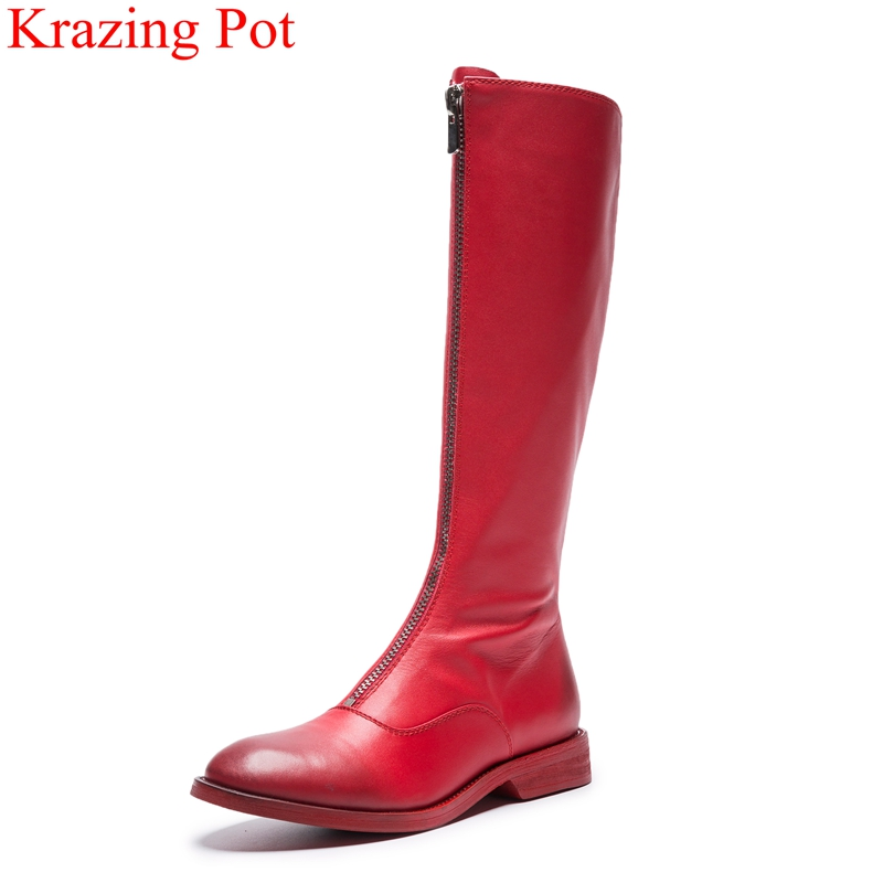 2018 superstar cow leather retro retro zipper med heels women knee-high boots runway office lady ridding thigh high boots L15