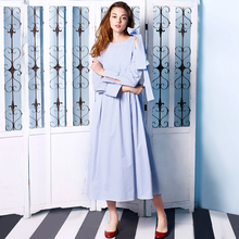 AIGYPTOS-SHT]New Autumn Women Fresh Loose Brief Blue Vertical Striped Side Slits Unique Bow Design Long Sleeve Cotton Long Dress