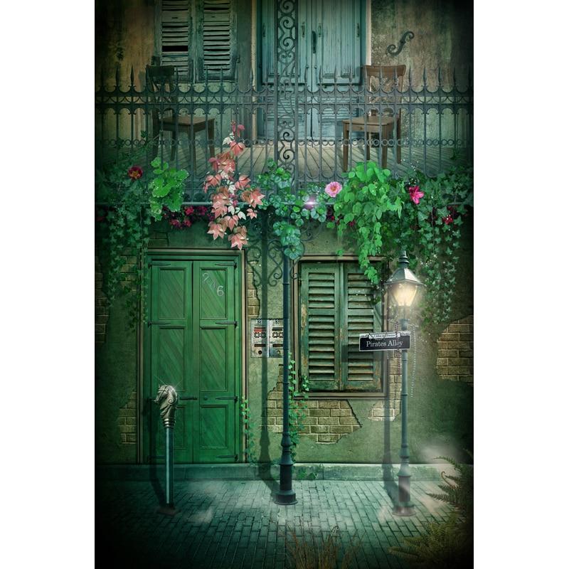 Vintage green door vinyl photography backdrops city street photo background for photo studio background fotografica F-1711 retro background christmas photo props photography screen backdrops for children vinyl 7x5ft or 5x3ft christmas033