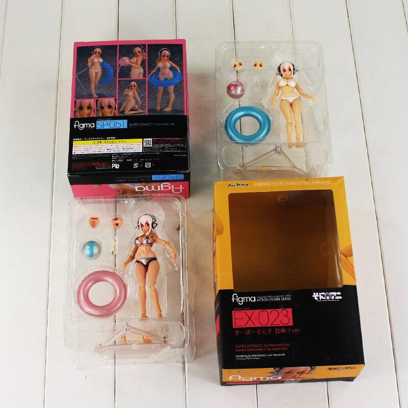 14cm Anime Super Sonico Action Figure Figma SP-051 EX-023 Super Sonico Beauty Model Doll Collectible Sexy Toys anime cartoon detective conan figfix sp 001 figma sp 058 pvc action figure collectible model toy 14cm