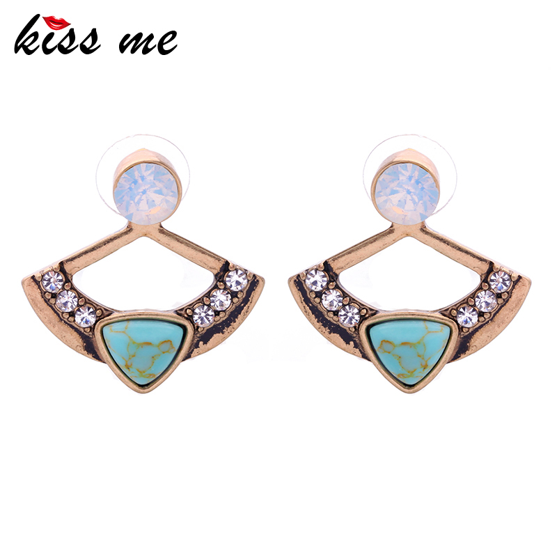 KISS ME Latest Color Antique Gold Color Earrings Fashion Jewelry 2016 Now <font><b>Trending</b></font> Geometric Stud Earrings