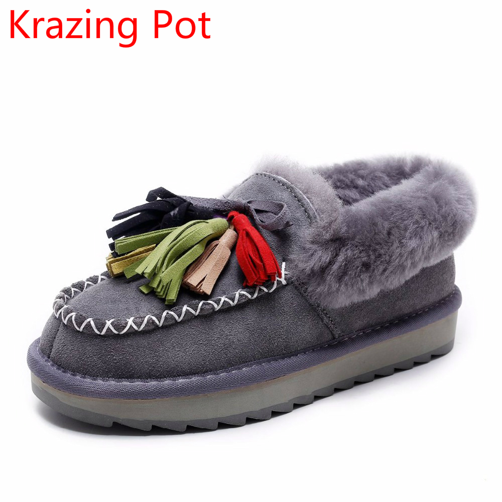 Superstar Cow Suede Sheep Fur Wool Keep Warm Winter Boots Colorful Slip on Flat with Tassel Round Toe Streetwear Snow Boots L11 manitobah перчатки suede mitt with fur trim lg charcoal св серый