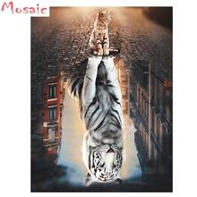 цена на 5D DIY Diamond Painting Cat and Tiger Diamond Embroidery 3d cross stitch animal FULL square/round diamond mosaic kit home decor