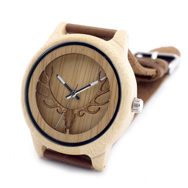 2016 Cabeza de Ciervo Con Ahuecan Hacia Fuera la Tecnología De Bambú De Madera Reloj Con Correa de Cuero Genuino Informal Reloj de Cuarzo Con Caja de Regalo