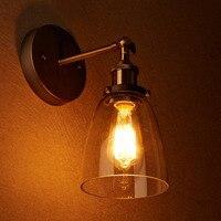 Lámparas de pared Edison industriales Vintage Loft  candelabro de pared de vidrio transparente  lámpara de pared E27 110 v/220 v  iluminación de cabecera
