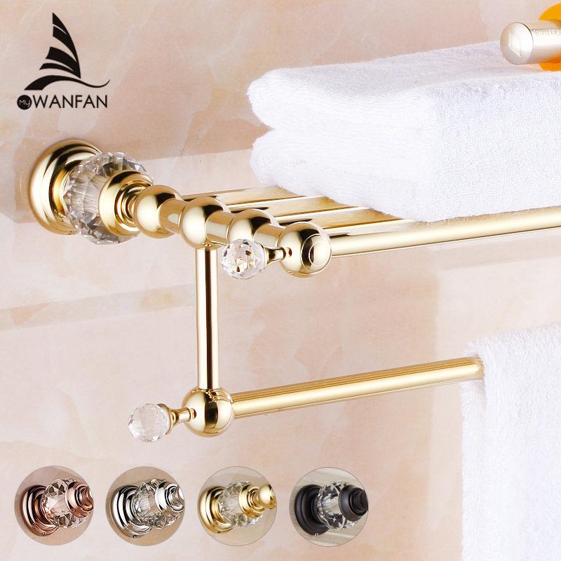 Bathroom Shelves Brass Crystal Towel Rack Gold Towel Shelf Wall Mounted Towel Holder Towel Hanger Bathroom