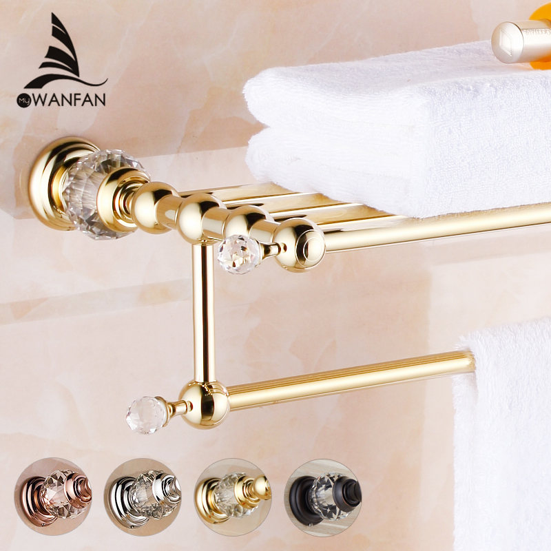 Bathroom Shelves Brass Crystal Towel Rack Gold Towel Shelf Wall Mounted Towel Holder Towel Hanger Bathroom Accessories HK-20 wall mounted golden crystal bathroom accessories crystal bathroom shelves of blue and white porcelain racks