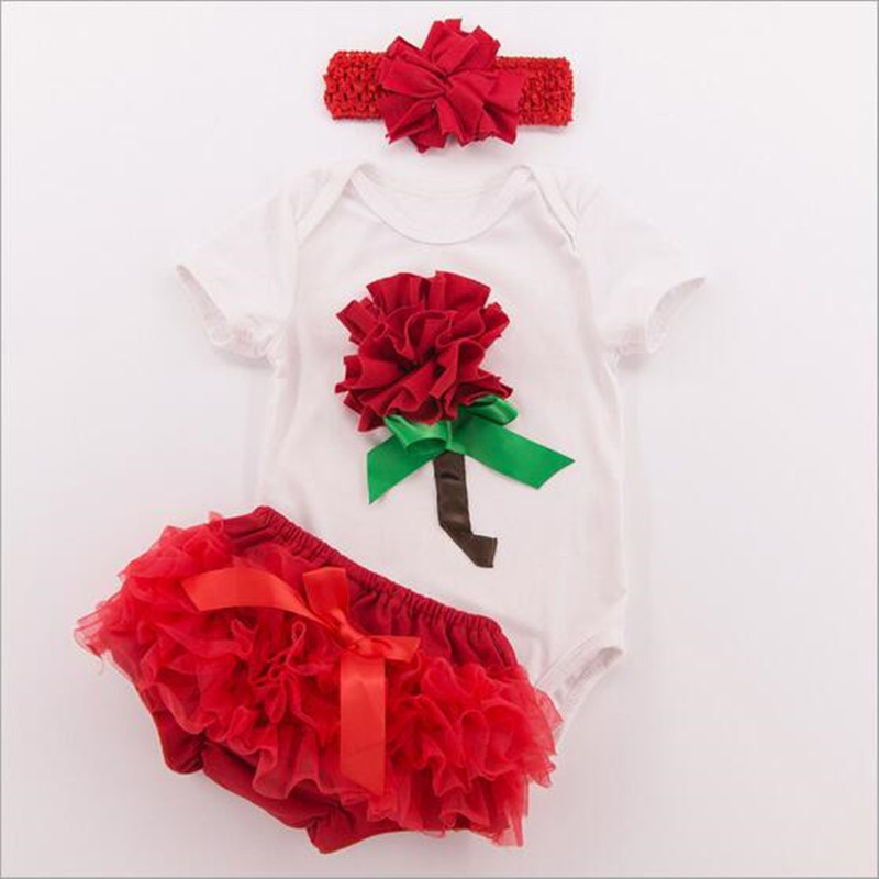 3pcs girls Valentines Rose Short sleeve white Bodysuit ruffle tutu bloomer set  (2)