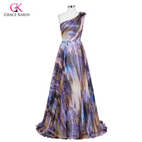 Grace Karin Evening Dresses Long Print Design One Shoulder Prom Dresses 2016 Sexy Chiffon Vestido De