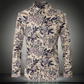 Chinese ethnic style pastoral flower printing high-end boutique shirt 2016 Autumn&Winter new fashion quality men shirt M-5XL