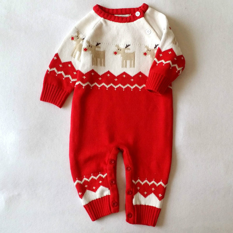 Winter Thick Climbing Clothes Newborn Boys Cotton Romper Girls Warm  Knitted Sweater Christmas Deer Outwear 2017 Baby Rompers 2017 baby rompers winter thick climbing clothes newborn boys girls warm romper knitted sweater christmas deer hooded outwear