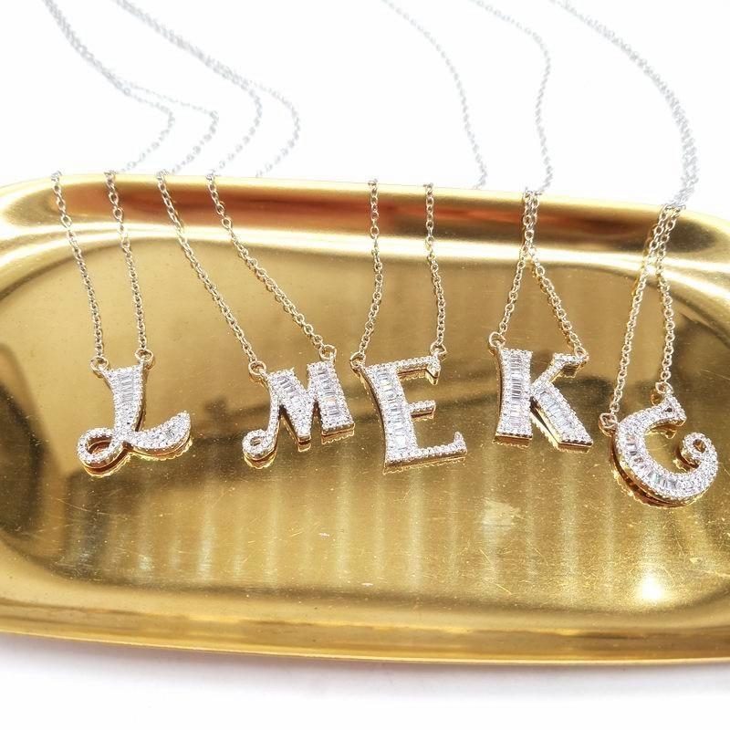 Letter Necklace Pendants Name Jewelry Alphabet Silver-Color Best-Friends Women Luxury