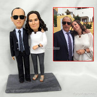Cake Decor Engagement gift present for wedding bride and groom from photo mini myself OOAK statue polymer clay doll sculpture