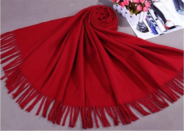Venta nuevo invierno oscuro rojo chino mujeres de cachemira mantón de la bufanda nueva grueso abrigo caliente 015