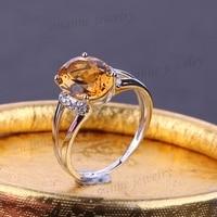 8X10mm Natuurlijke Citrien Echt Diamonds Solid 14 k White Gold Engagement Promise Ring Voor Vrouwen Fijne Sieraden