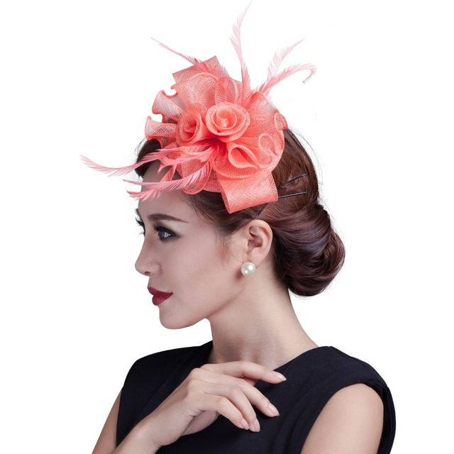 2016 new Women white fancy races hats and feather hair accessories fascinators  ladies wedding party fascinator hat 6a7a52c0f3d
