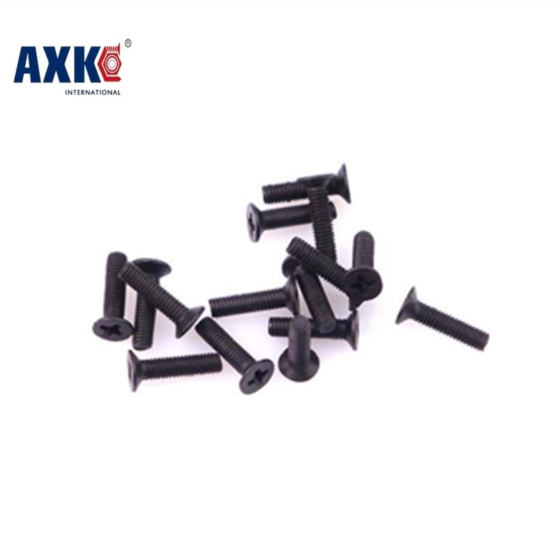 100-500pcs/lot M1.2/M1.4/M1.6/M2/M2.5/M3black carbon steel phillips flat head countersunk small machine screws hardware554 m