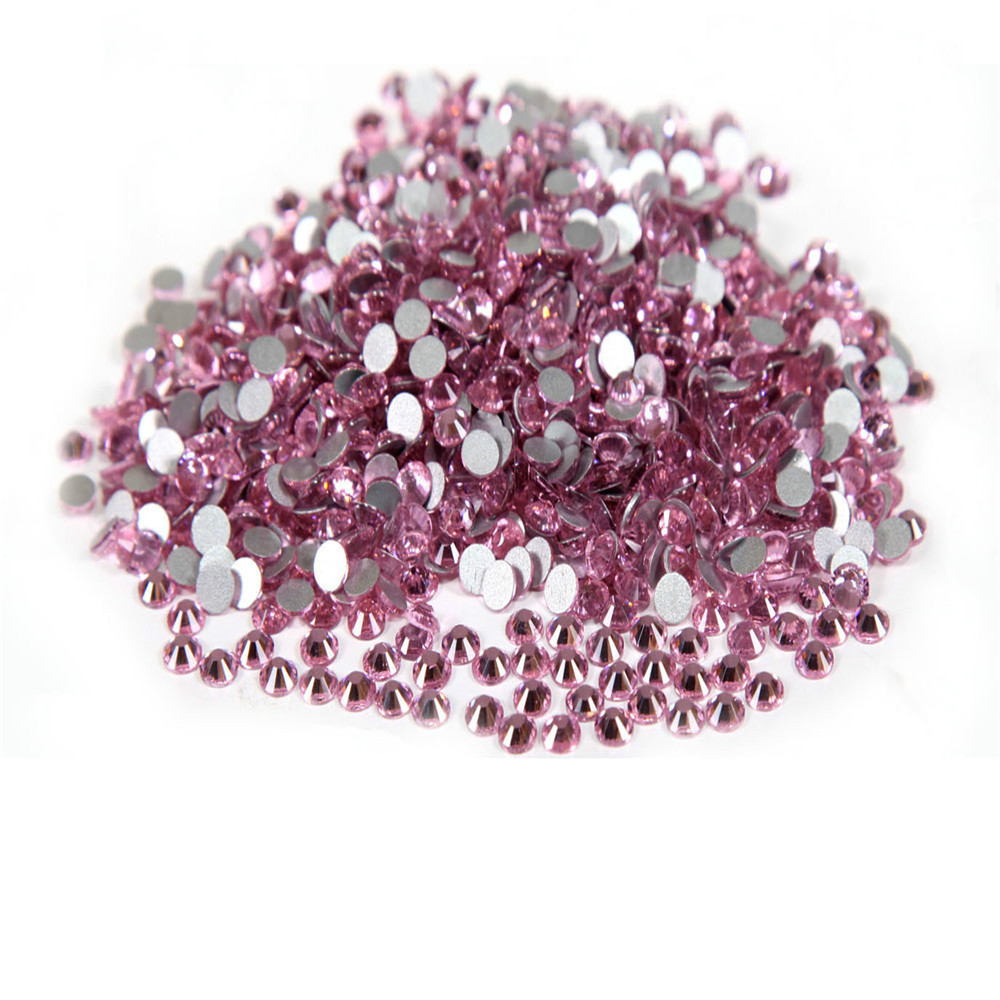 Super Shiny 1440p ss6 2mm Crystal Light  Pink Nail Rhinestones  Non Hotfix Rhinestones Nail Art Decoration 3D DIY Beads super shiny 1440p 6ss 2mm crystal non hotfix fuchsia nail art rhinestones for nails 3d nail art decoration glitter jewerly
