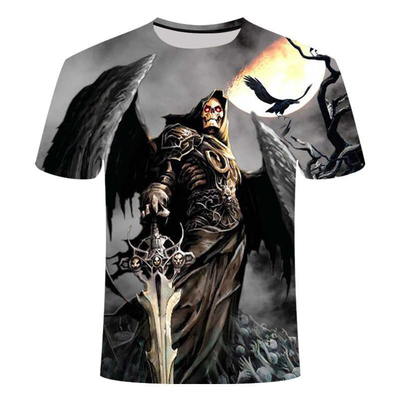 Модная футболка для мужчин/женщин тяжёлый Металл мрачный смерть с косой Объёмный рисунок (3D-принт) футболки короткий рукав Харадзюку Стиль Уличная Топы