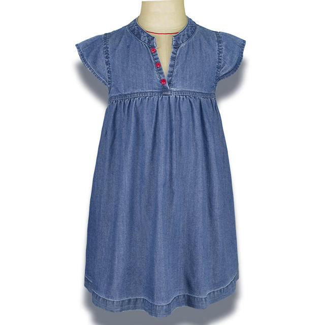1f8c5d6a7134 Infant Toddler Baby Girl Denim Dress Newborn Kid Robe Puff Sleeve ...
