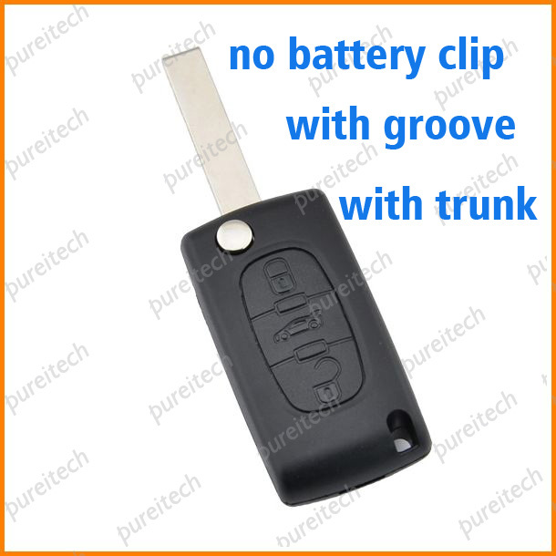 PREISEI 20pieces/lot car flip remote key shell replacements with trunk for citroen ce0523 no battery place with groove image