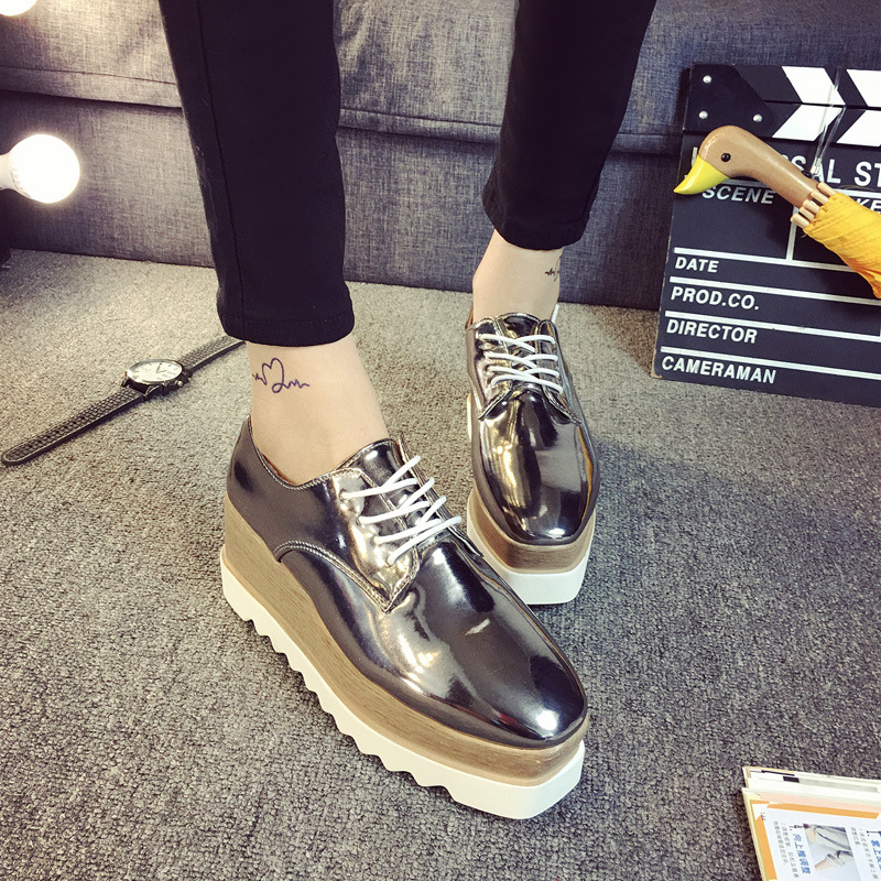 2019 3 colors Lady Lace Up Platform shoes womens fashion W High Heel thick soled leather Shoes2019 3 colors Lady Lace Up Platform shoes womens fashion W High Heel thick soled leather Shoes