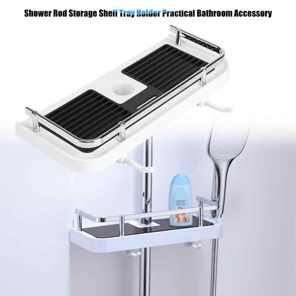 Praktis Mandi Tiang Shower Penyimpanan Rak Pemegang Organizer Rak Kamar Mandi Shower Sampo Tray Single Tier Shower Kepala Pemegang