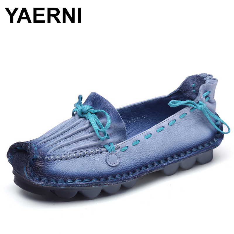 YAERNI Genuine Leather Flat Handmade Outsole Comfortable Casual Shoes Women Flats Soft Single Shoes Solid Women Loafers women s flat shoes woman loafers women handmade comfortable shoes genuine leather soft outsole shoes women flats 35 40