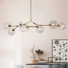 Modern Pendant Light Glass 5 Lights E27 Metal Plating Lamp for Living Bed Room Loft