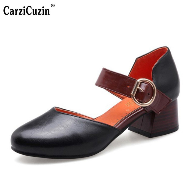 CarziCuzin Plus Size 32-46 Girls  Thick High Heel Sandals Women Buckle Shoes  Strap Round Toe Sandalias Ladies Summer Footwear d872cb59fb89