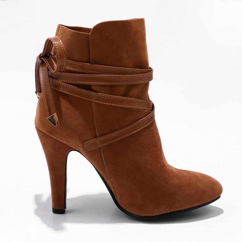 Morazora 2020 Hàng Mới Về Đàn Phối Ren Cổ Chân Giày Cho Nữ Giày Mũi Tròn Thu Đông Giày Bốt Cao Gót Nữ size 34-43