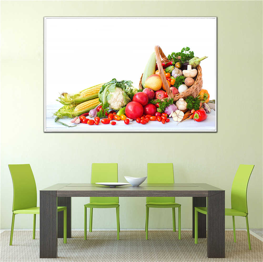 Kitchen Decor Food Painting Fruit Vegetable Basket Strawberry Cherry Posters Modern Home Decoration Canvas Art Print Cuadros