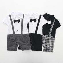 Turn-down Collar Newborn baby Cotton rompers Short sleeve gentleman Style