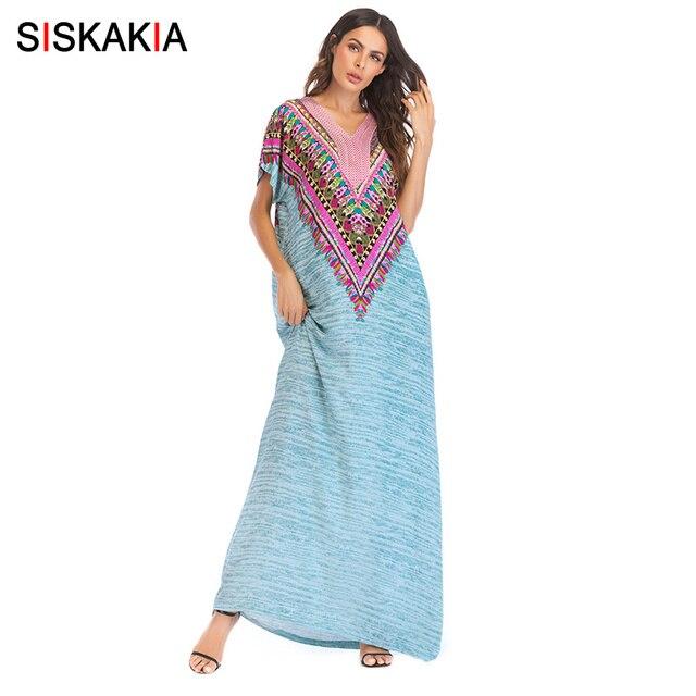 Siskakia מקסי ארוך שמלת וינטג אתני דפוס טלאי רקמת קיץ שמלות מקרית Boho שמלת ירוק ייעוד החג