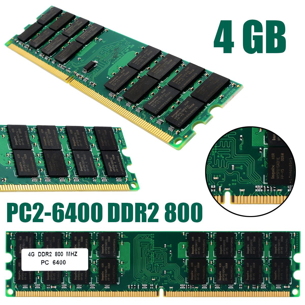1pc Professional 4GB PC2-6400 DDR2 800MHZ Non-ECC 240Pin Memory Ram For AMD Desktop RAMs New