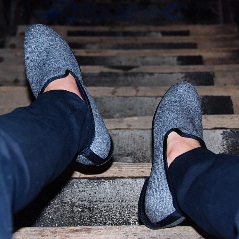 Traditionnelles Mocassins Noir Dans Piergitar Main Tweed Gris Fait Entrelacés Appartements Chaussures Et Style Classique Hommes Britannique Casual qCnwSgCB