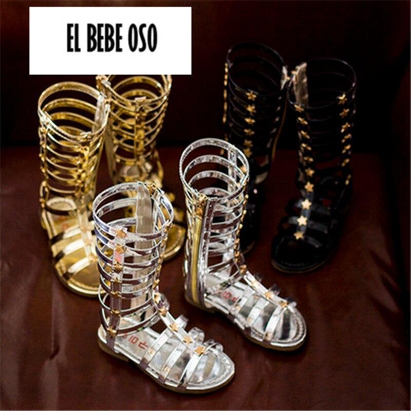 El Bebe Oso Gladiator Sandal Untuk Anak Perempuan Fashion Anak-anak Sepatu Flat Musim Panas Sepatu Perempuan Anak Berongga ...