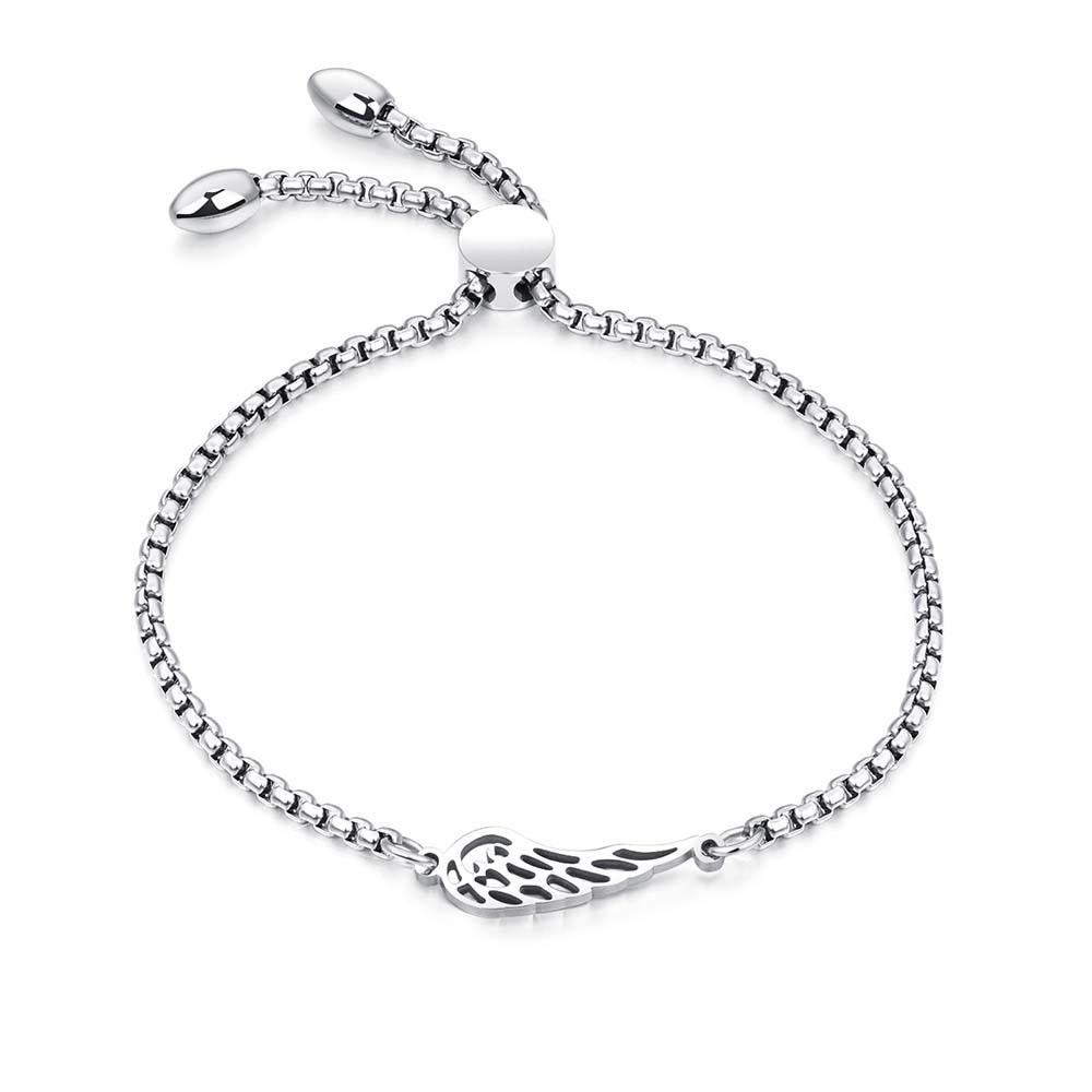 JeeMango Popular Titanium Steel Angel Wings Feather Bracelets Fashion Rose Gold Color Bracelet Length Adjustable Pulseira OGS894