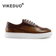 Vikeduo 2019 Handmade vintage male genuine Leather shoe Designer Luxury Fashion Leisure party wedding Brown Mens Casual Shoes