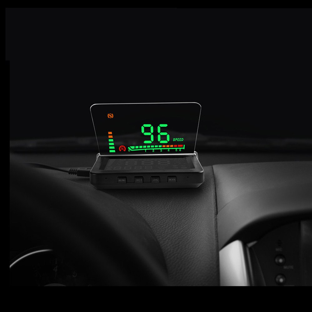 New Universal 4 Inch Car HUD Head Up Display OBD II Engine Fault Alarm Fault Code Elimination High Temperature Alarm Speed Alarm
